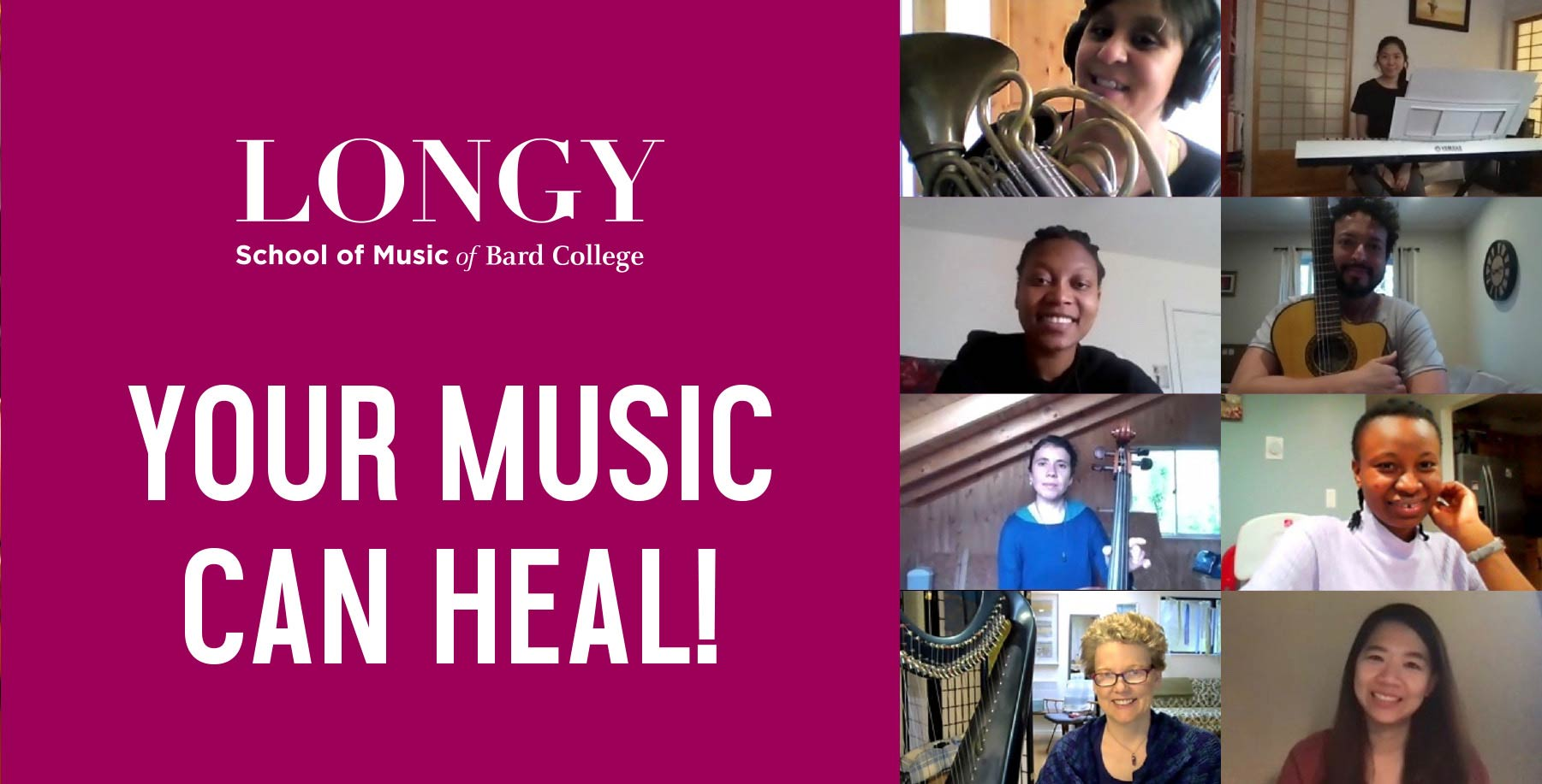 Your Music Can Heal! Collage of students during online classes