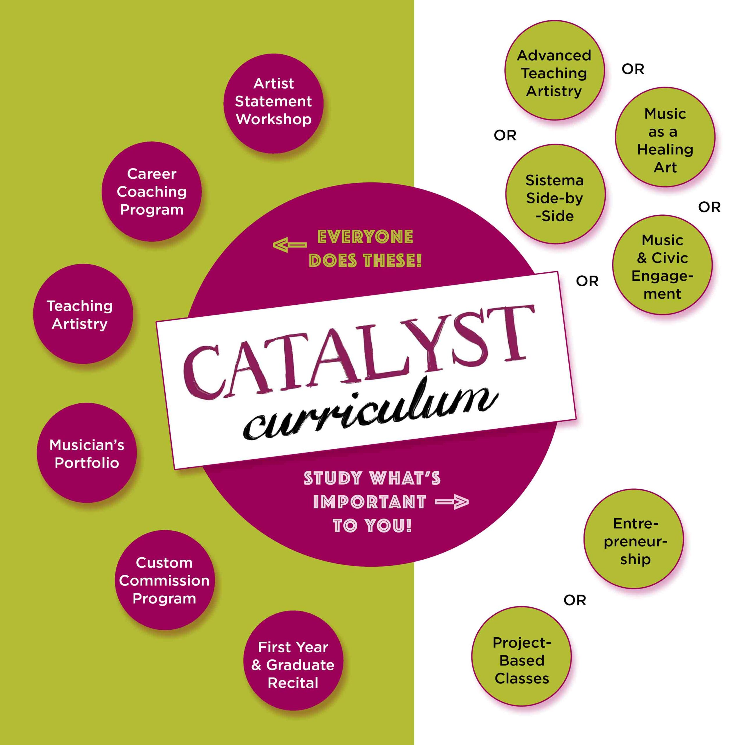 CATALYST Curriculum. Everyone does these: Artist Statement Workshop, Career Coaching Program, Teaching Artistry, Musician's Portfolio, Custom Commission Program, First Year & Graduate Recital. Study What's Important to You: Advanced Teaching Artistry OR Music as a Healing Art OR Sistema Side-by-Side OR Music & Civic Engagement. Entrepreneurship OR Project-Based Classes.